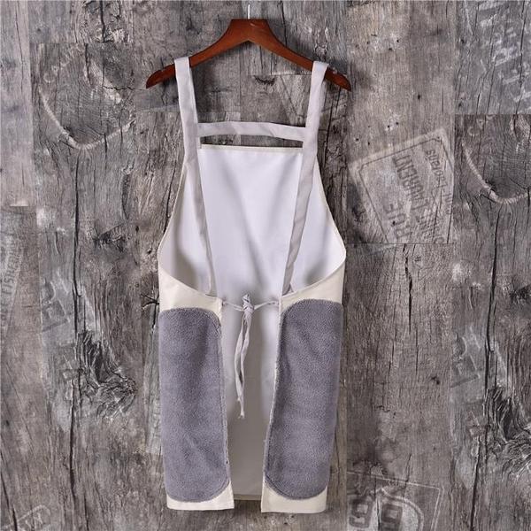 圍裙可擦手圍裙背帶日式家用廚房防水防油時尚成人女男士工作服 晶彩