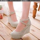 甜美防水臺坡跟鞋