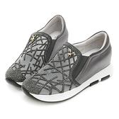 PLAYBOY 奢華晶鑽 真皮內增高休閒鞋-灰(Y5299灰)