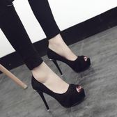 12cm細跟超高跟性感絨面黑色魚嘴鞋防水臺舒適高跟單鞋女新品