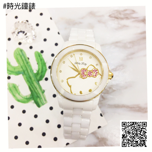 HELLO KITTY 凱蒂貓陶瓷錶 LK673LWWI-K 免運/36mm