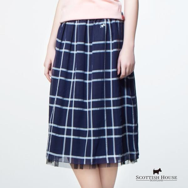 格紋網紗蓬長裙