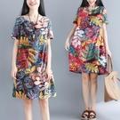 民族風連身裙 民族風復古棉麻洋裝女夏季寬鬆印花中長款顯瘦亞麻裙子-Ballet朵朵