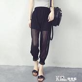 燈籠褲 燈籠褲女夏雪紡紗2020新款女褲夏季薄款寬鬆顯瘦哈倫褲網紗九分褲