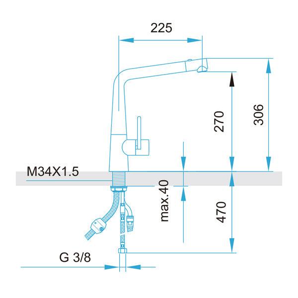 【歐雅系統家具】ARWA 瑞士頂級龍頭 10545-441 花灑伸縮龍頭 (不鏽鋼 )