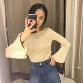 秋季新款韩版圆领喇叭袖上衣针织衫女显瘦修身打底衫长袖紧身毛衣  檸檬衣舍