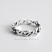 S925純銀復古做舊鏈條指環INS韓版個性女款麻花扭紋開口戒指飾品