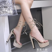 涼鞋女高跟鞋繫帶恨天高14cm超高跟鞋夜場粗跟防水台15情趣夜店女 藍嵐