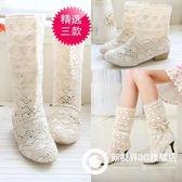 鏤空長靴高跟平底網靴中筒靴蕾絲女鞋 Xdpj99