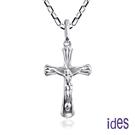 ides愛蒂思 輕珠寶義大利進口14K白金十字架項鍊鎖骨鍊(16吋-KP360-小)