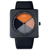 Noon Copenhagen-19系列雅亮潮流丹麥變臉腕錶(黑框橘/皮錶帶)