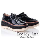 ★2018秋冬★Keeley Ann街頭漫步~厚底編織滾邊綁帶休閒鞋(黑色) -Ann系列
