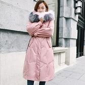 連帽外套-長版舖棉拼色大毛領收腰女夾克4色73wd8【巴黎精品】
