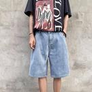 牛仔短褲男潮牌ins痞帥高街五分褲寬松直筒工裝褲夏季薄款六分褲