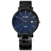 ALBA / VJ42-X297B.AS9K63X1 / 簡約風格 斜線條面板 藍寶石水晶玻璃 不鏽鋼手錶 藍x鍍黑 42mm