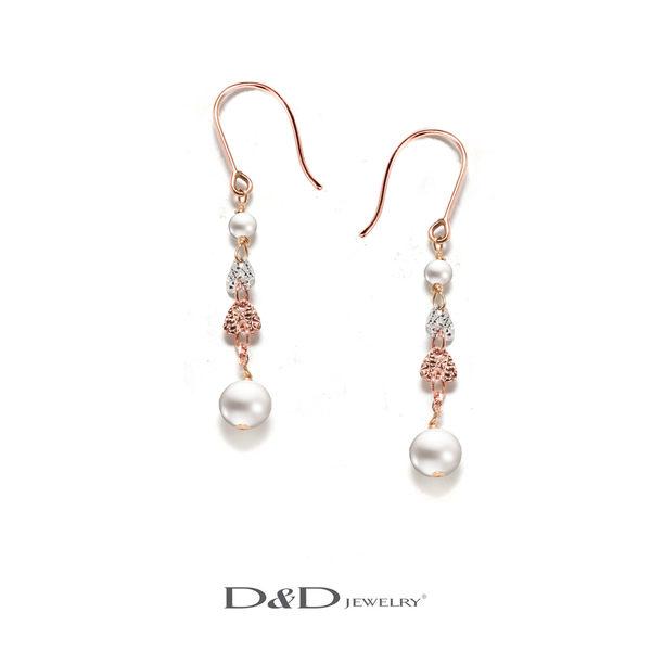 輕奢珠寶585K天然珍珠三色耳環