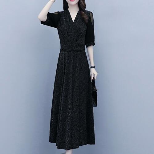 洋裝 網紅款 中大尺碼L-5XL新款法式連身裙V領收腰顯瘦女神範網紗長裙N181C-803.皇潮天下