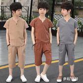 2019童裝休閒透氣夏季短袖兩件套 QW2959『夢幻家居』