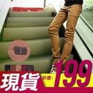 [現貨] 日韓系皮標完美穿搭牛仔車線彈力修身窄版素色工作褲休閒長褲.八色【QZZZ1194】