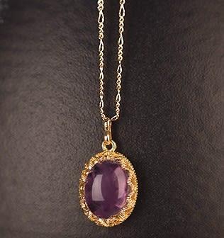 [協貿國際]天然紫水晶鑲嵌橢圓形吊墜鍍24K金鍊單條價