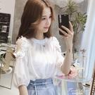 短袖t恤女白色夏裝2021新款韓版寬鬆打底衫雪紡小衫露肩上衣服潮 果果輕時尚