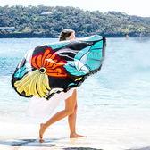 K.J時尚(WUNa07)新款薄人棉圓形帶流蘇沙灘墊披肩裹巾 沙灘巾 裹巾瑜伽墊