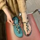 夾腳涼鞋女夏季百搭韓版平底夾趾涼鞋女時尚亮鑚沙灘鞋女 三角衣櫃
