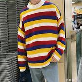 秋冬季厚款寬鬆情侶針織衫韓版寬鬆條紋毛衫潮流ins超火的毛衣男 千惠衣屋