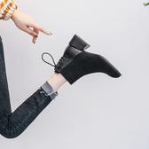 2019年新款秋季時尚女鞋秋冬季馬丁靴中跟粗跟加絨百搭冬鞋短靴女