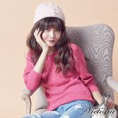 Victoria 前縫飾珠拉克蘭長袖線衫-女-桃紅-V65097