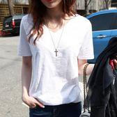 夏季新款韓版寬鬆白色短袖t恤女竹節棉麻百搭簡約學生半袖上衣潮   芊惠衣屋