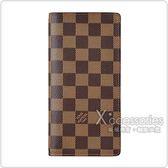 LV N60017 BRAZZA棋盤格LOGO DAMIER  EBENE帆布直立對折長夾(咖啡x深咖啡)