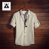 七分袖襯衫男短袖韓版修身亞麻襯衣男士中袖衣服青少年寸衫夏季潮 古梵希