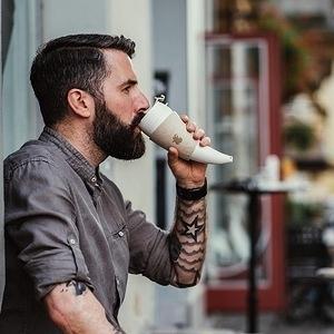 Goat Mug 12oz山羊角咖啡杯酒紅色