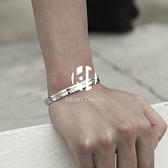S925銀手鐲手鍊男個性酷羅馬數字復古手飾品【Kacey Devlin】