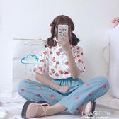 夏裝女裝韓版小清新水果草莓印花短袖襯衫·Ifashion