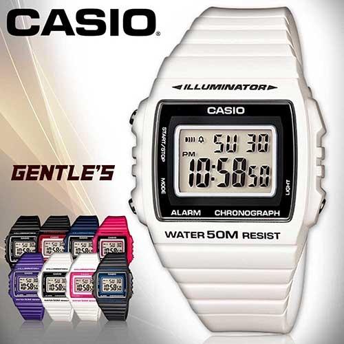 CASIO手錶專賣店 卡西歐 W-215H-7A 數字錶 黑框白 中性錶 方形 防水50米 LED背光照明 膠質錶帶