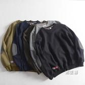 衛衣 秋冬款刷毛加厚長袖男日系簡約圓領休閒棉質素面寬鬆運動上衣