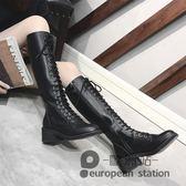 長靴/系帶女秋季新款機車靴子拉鏈過膝長筒靴高筒粗跟騎士靴「歐洲站」