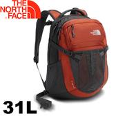 【The North Face 美國 31L 15吋電腦背包《深灰/紅》】CLG4/電腦書包/筆電包/後背包
