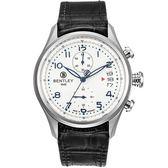 【BENTLEY】賓利 AVIATOR系列 遨翔菁英計時手錶 (白面/黑 BL1684-10WWB-N)