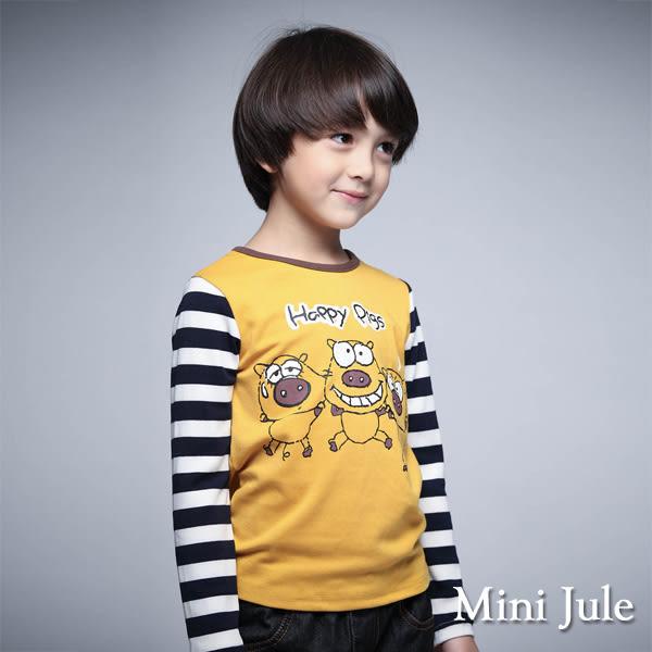 《Mini Jule 童裝》上衣 小豬拼接條紋棉質長袖T恤(黃)