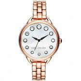 Marc Jacobs Betty 摩登晶鑽女錶-珍珠貝x玫塊金/35mm MJ3515