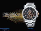 【時間道】SEIKO Premier首領人動電能萬年曆腕錶/黑面玫金刻鋼帶(7D56-0AE0X /SNP149J1)免運費
