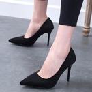 高跟鞋 高跟鞋女細跟春季新款尖頭黑色百搭禮儀職業網紅性感單鞋婚鞋【限時八五鉅惠】