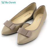 ★新品上市★【Bo Derek】三角壓紋蝴蝶結娃娃鞋-卡其