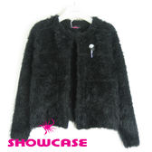 【SHOWCASE】名媛氣質奢華短毛別針外套(黑)-冬季保暖