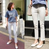 韓國夏季直筒微喇叭高腰彈力白色牛仔褲女修身顯瘦闊腿九分褲25-32【全網最低價省錢大促】