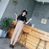 春季新款韓版百搭時尚高腰皮吊帶褲寬鬆顯瘦學生背帶褲女潮 居享優品