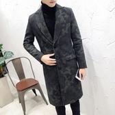 風衣外套-時尚修身英倫氣質毛呢中長版迷彩男大衣73ip58【時尚巴黎】